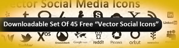 Downloadable Set Of 45 Free Vector Social Icons 2